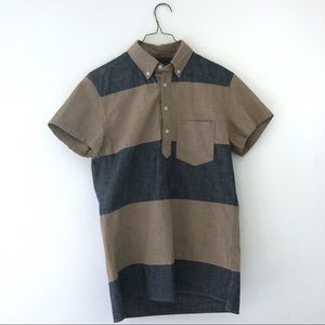 J. Crew NWT Short-sleeve popover pieced chambray